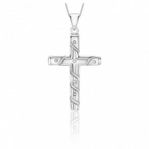 Pendentif croix striée or blanc 9k et diamants 0.05 carat