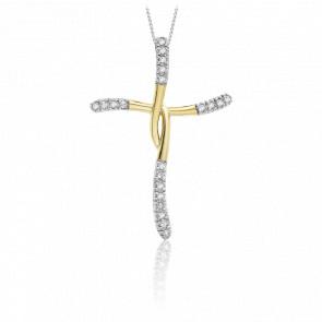 Pendentif croix croisée 2 ors et diamants 0.15 carat