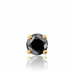 1 Boucle d'Oreille Diamant Noir & Or Jaune 18K