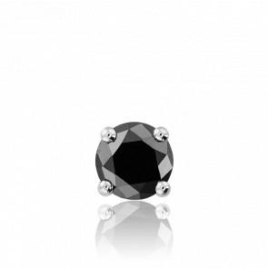 1 Boucle d'Oreille Diamant Noir Argent