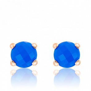 Boucles d'Oreilles Bottone Agate Bleue