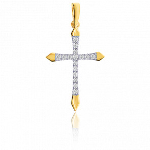 Pendentif croix or 9k et diamants 0.11 carat