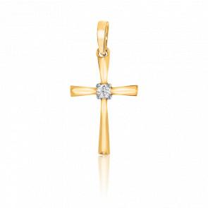 Pendentif croix or 9k et diamant solitaire 0.03 carat