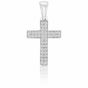 Pendentif Croix Pavée Or Blanc 18K & Diamants