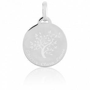 Médaille gravable arbre de vie en argent