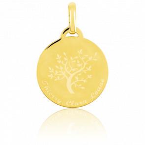 Médaille gravable arbre de vie or jaune