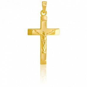 Pendentif croix Christ fil or 9k