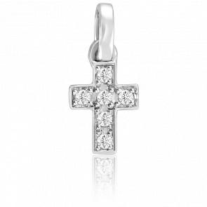 Pendentif croix or blanc 9k et diamants 0.05 carat