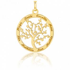 Grand pendentif gravable arbre de vie or jaune
