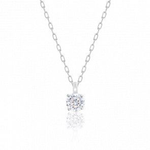 Collier Diamant Solitaire HSI Or Blanc 18K
