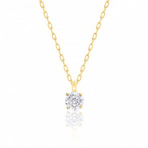 Collier Diamant Solitaire HSI Or Jaune 18K