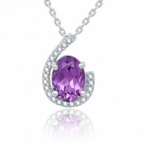 Pendentif  Goutte d'Améthyste, Diamants & Or Blanc