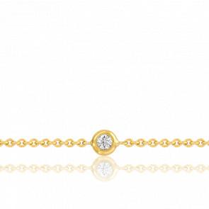 Bracelet chaîne, Or jaune 18k & Diamant