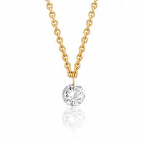 Collier chaîne, Or jaune 18k & Diamant percé