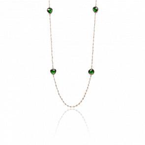Collier plaqué or rose 24k & pierres grises et vertes