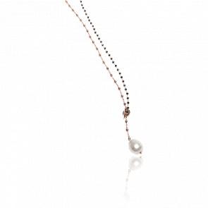 Collier plaqué or rose 24k & cristaux noirs et perle baroque