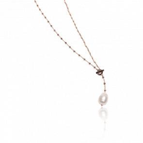 Collier plaqué or rose 24k & cristaux roses et perle baroque