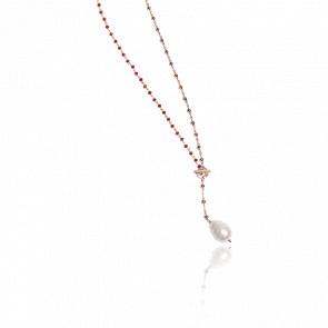 Collier plaqué or rose 24k & cristaux rouges et perle baroque