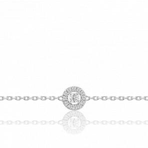 Bracelet Solitaire Accompagné Or Blanc 9K et Diamants
