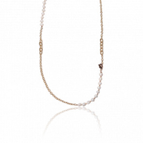 Collier plaqué or jaune 24k & chaîne diamantée et perles