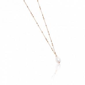 Collier bronze plaqué or rose 24k & perle