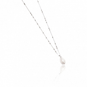 Collier bronze rhodié & perle