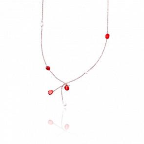 Collier argent plaqué or rose 24k & pierres corail et perles