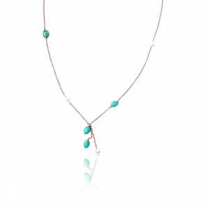 Collier argent plaqué or rose 24k & turquoises et perles