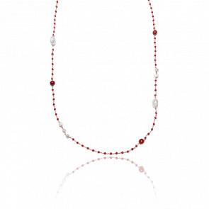 Collier plaqué or rose 24k & cristaux rouges, agates rouges et perles