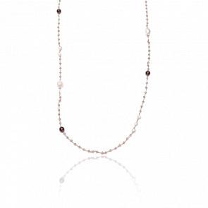 Collier plaqué or rose 24k & cristaux fumés, agates fumées et perles