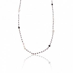 Collier plaqué or rose 24k & cristaux noirs, agates noires et perles