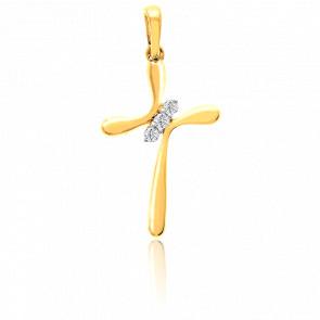 Pendentif croix or jaune 9 carats et diamants 0.04 carat