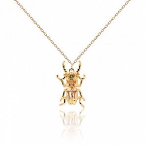 Collier scarabée du courage pierres semi-précieuses et plaqué or 18k CO01-253-U