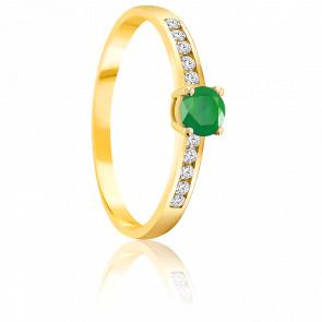 Bague Emeraude 0.30 ct & Diamants Or Jaune 18K
