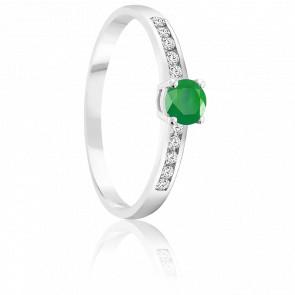 Bague Emeraude 0.30 ct & Diamants Or Blanc 18K