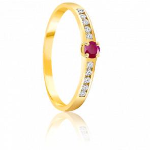 Bague Rubis 0.10 ct & Diamants Or Jaune 18K