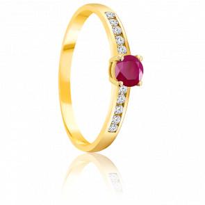 Bague Rubis 0.30 ct & Diamants Or Jaune 18K