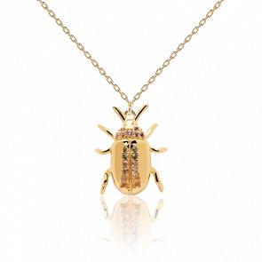 Collier scarabée de l'équilibre pierres semi-précieuses et plaqué or 18k CO01-257-U