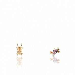 Boucles d'oreilles scarabée du courage pierres semi-précieuses et plaqué or 18k AR01-368-U