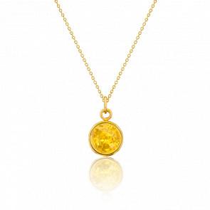 Collier argent doré & ambre citron
