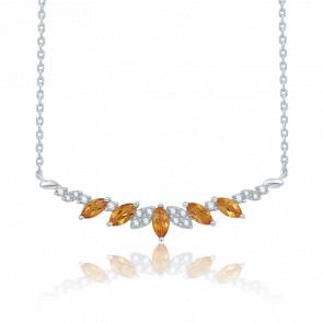 Collier Or Blanc Diamants & Citrine 0.39ct