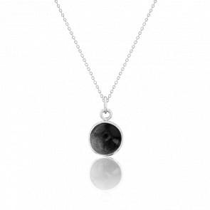Collier argent 925 & obsidienne