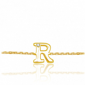 Bracelet Lettre, Or jaune 9K & Diamant
