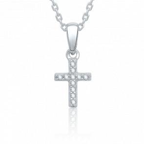 Pendentif Croix, Or blanc & Diamants de 0.04 ct