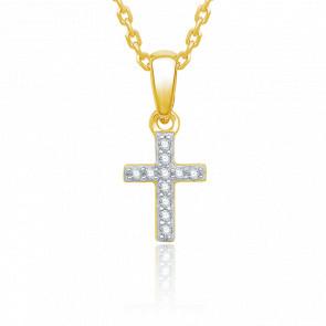 Pendentif Croix, Or jaune & Diamants de 0.04 ct