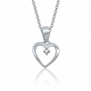 Pendentif Cœur, Or blanc & Diamant