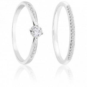 Bague double or blanc 9K & diamants