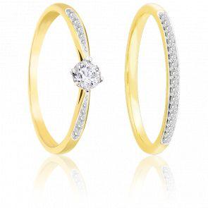 Bague double or jaune 9K & diamants
