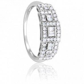 Bague carrée or blanc 9K & diamants