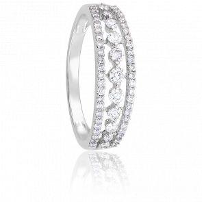 Bague pavage or blanc 9K & diamants